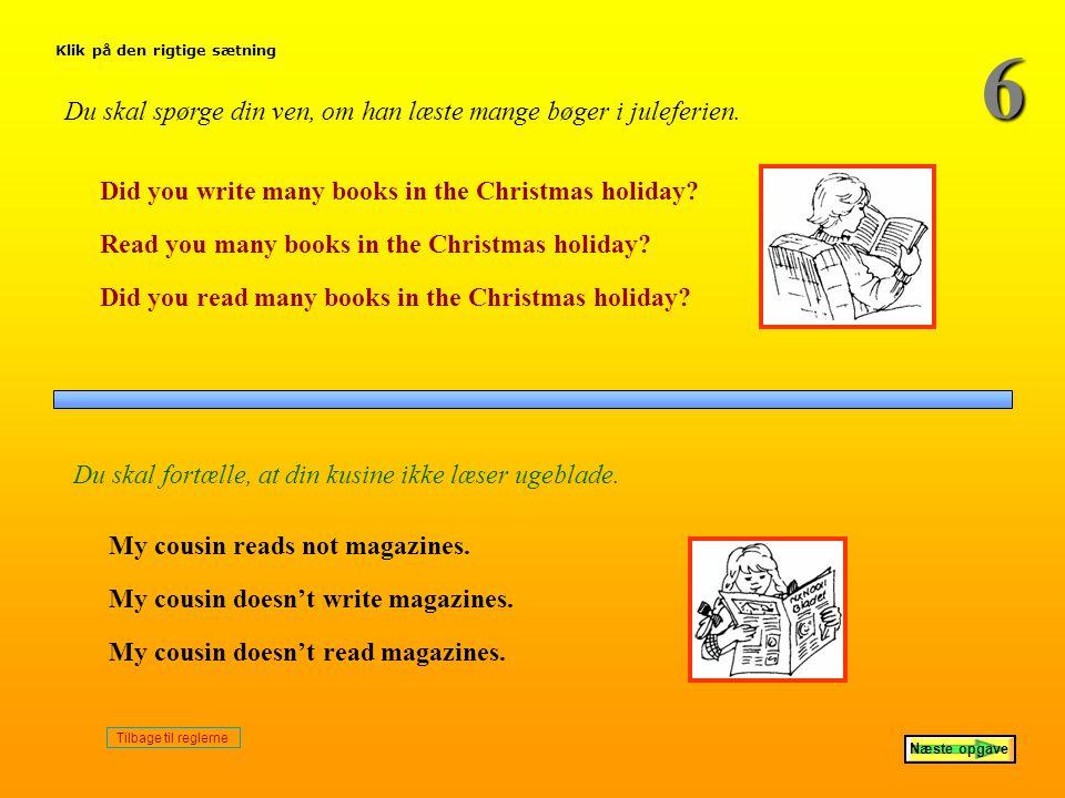 6 Du skal spørge din ven, om han læste mange bøger i juleferien.