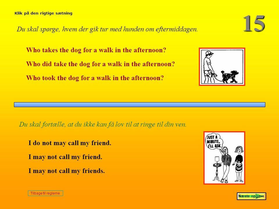 15 Du skal spørge, hvem der gik tur med hunden om eftermiddagen.
