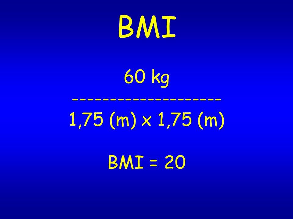 BMI 60 kg -------------------- 1,75 (m) x 1,75 (m) BMI = 20