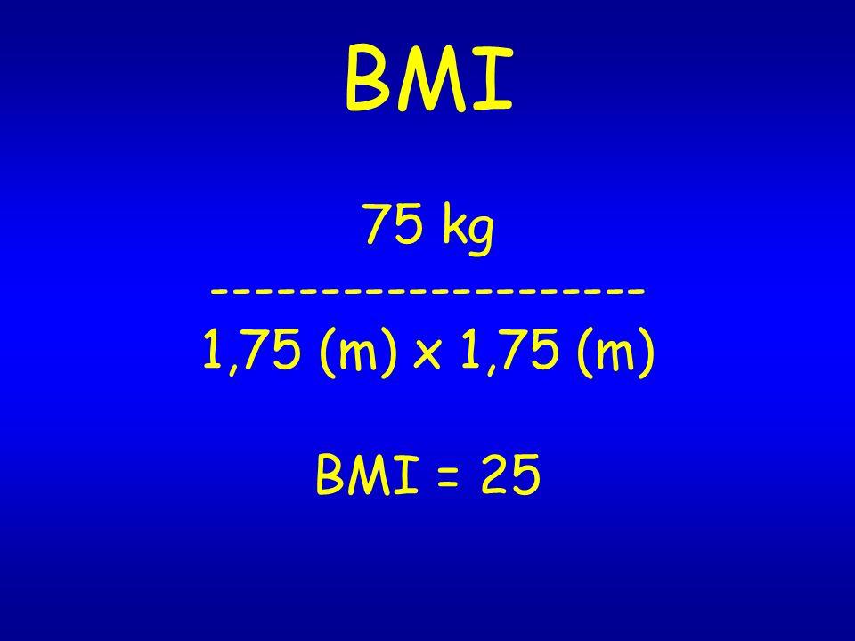 BMI 75 kg -------------------- 1,75 (m) x 1,75 (m) BMI = 25