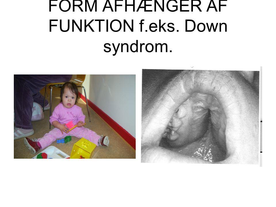 FORM AFHÆNGER AF FUNKTION f.eks. Down syndrom.