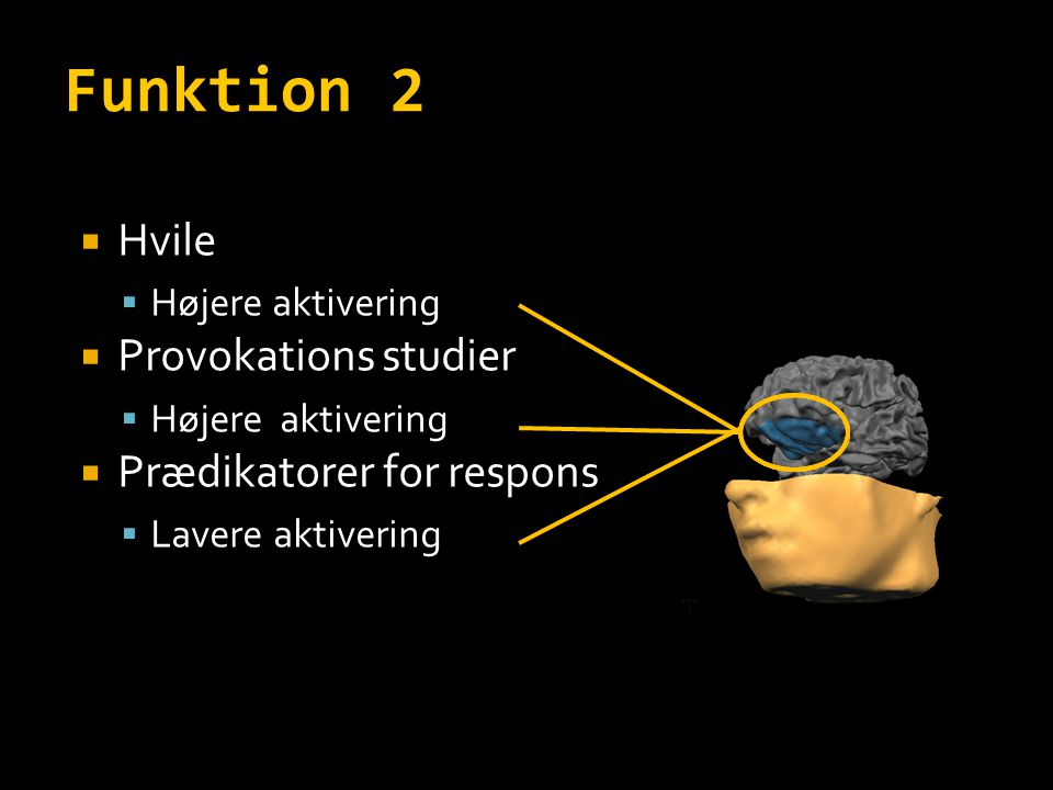 Funktion 2 Hvile Provokations studier Prædikatorer for respons