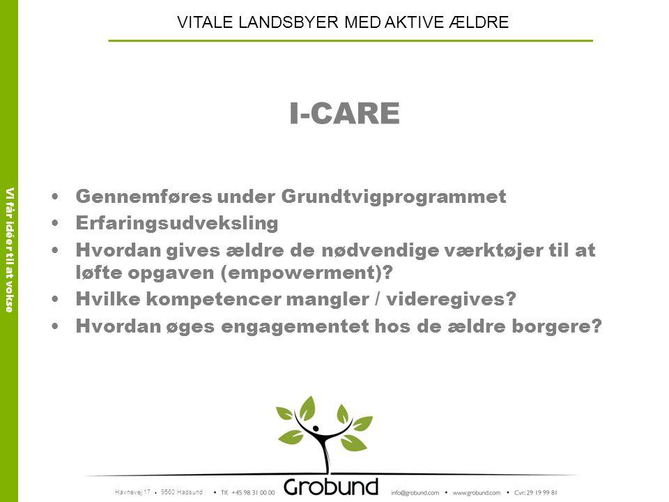 I-CARE Gennemføres under Grundtvigprogrammet Erfaringsudveksling