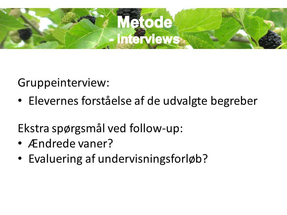 Metode Metode - interviews Gruppeinterview: