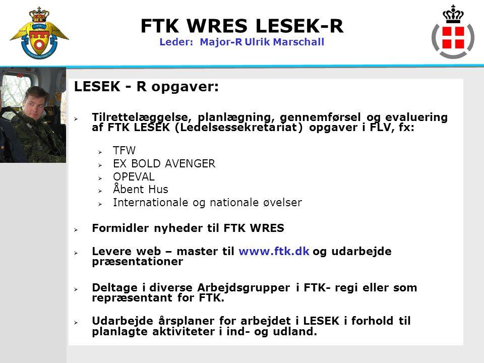FTK WRES LESEK-R Leder: Major-R Ulrik Marschall