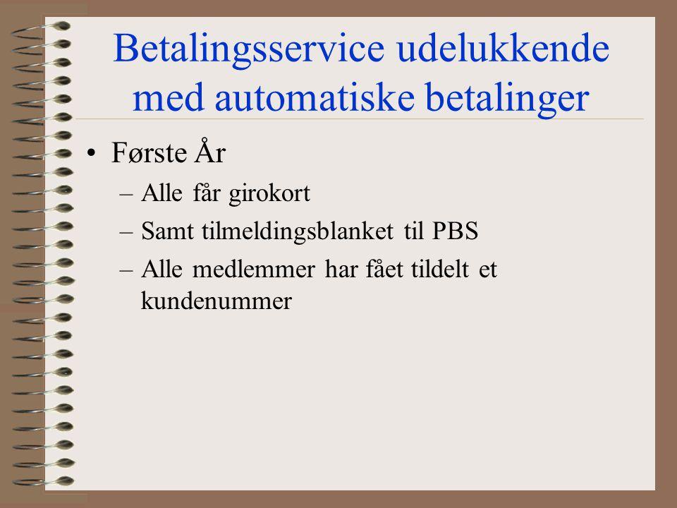 Betalingsservice udelukkende med automatiske betalinger