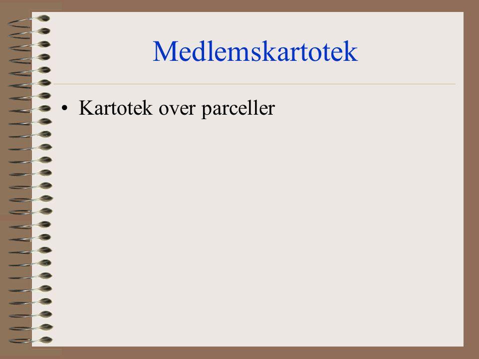 Medlemskartotek Kartotek over parceller