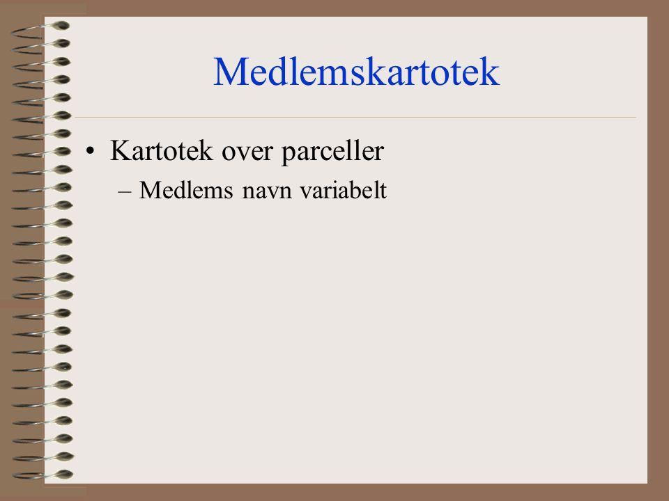 Medlemskartotek Kartotek over parceller Medlems navn variabelt