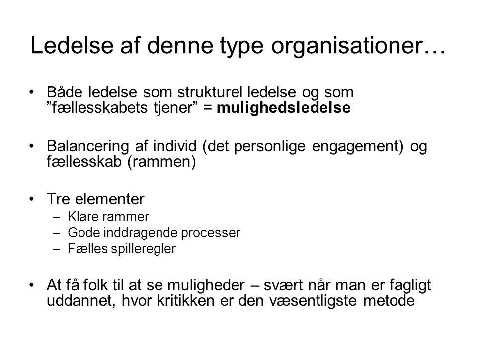 Ledelse af denne type organisationer…
