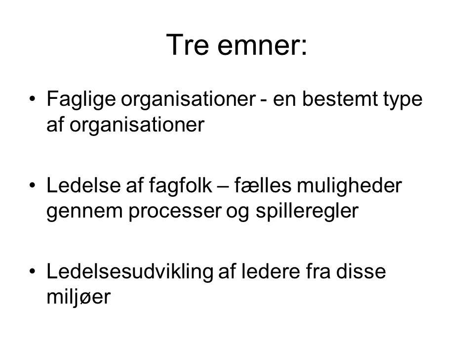 Tre emner: Faglige organisationer - en bestemt type af organisationer