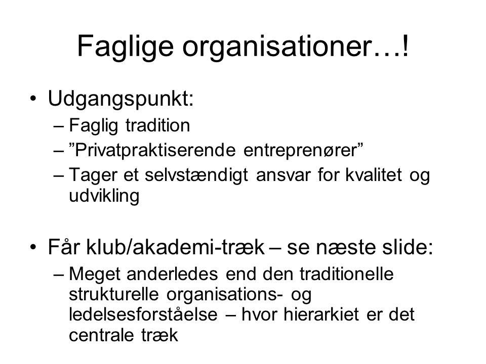 Faglige organisationer…!