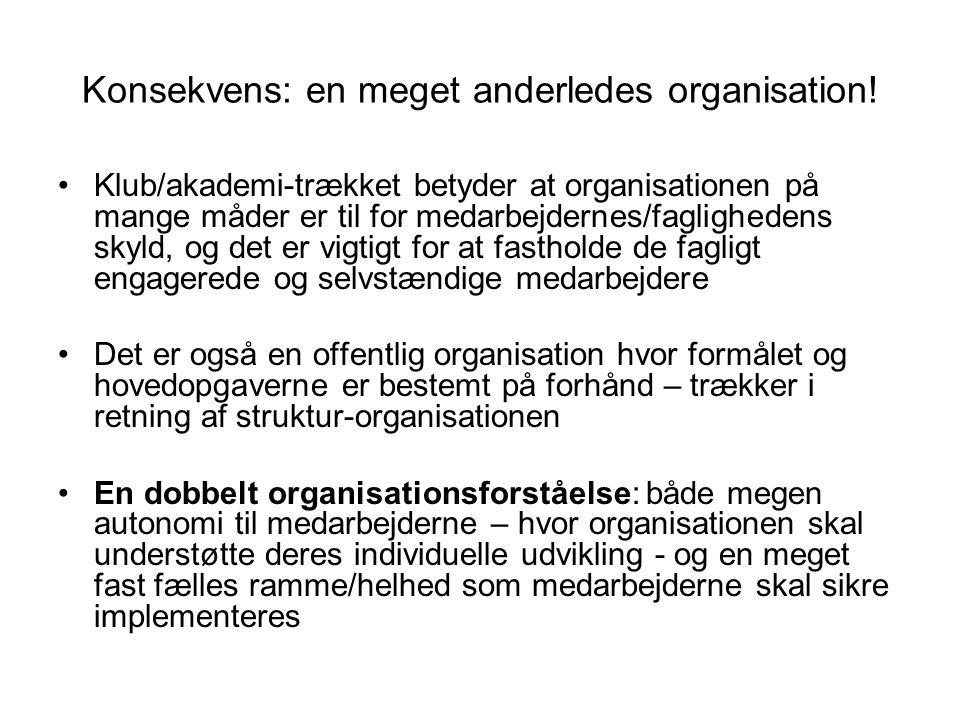 Konsekvens: en meget anderledes organisation!