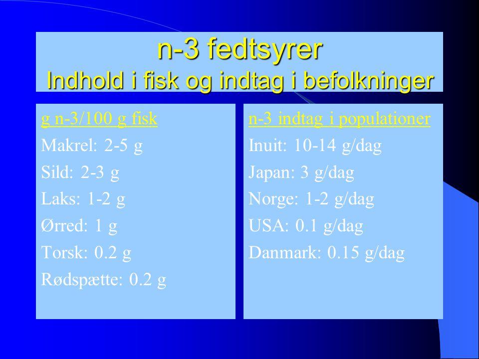 n-3 fedtsyrer Indhold i fisk og indtag i befolkninger