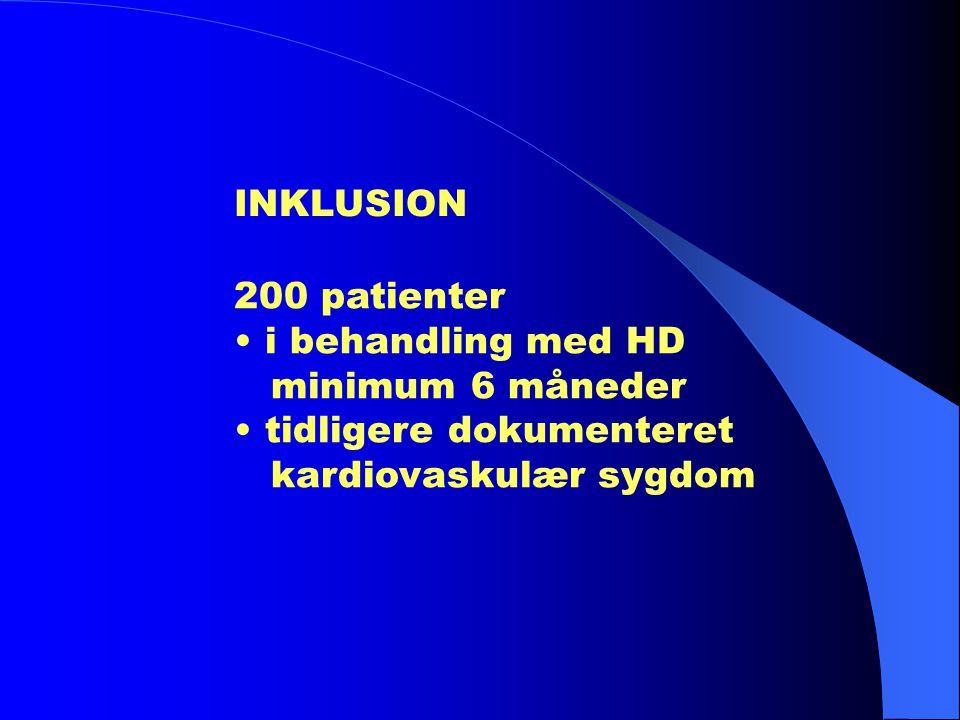 INKLUSION 200 patienter. • i behandling med HD. minimum 6 måneder.