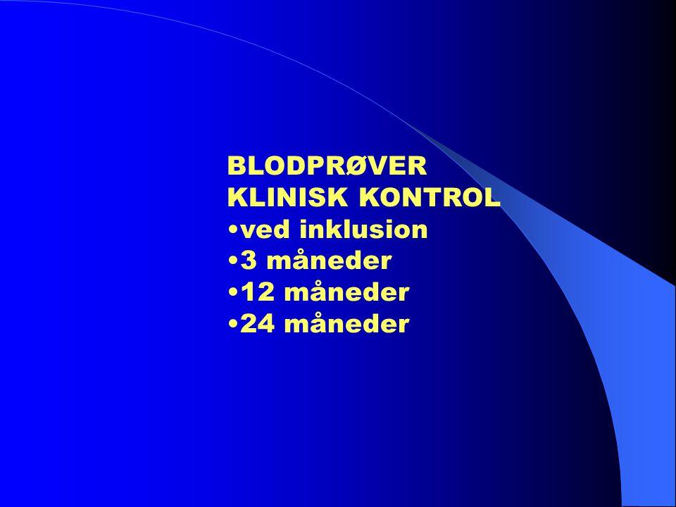 BLODPRØVER KLINISK KONTROL •ved inklusion •3 måneder •12 måneder •24 måneder