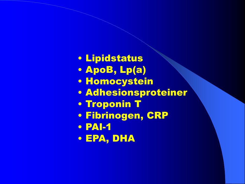 • Lipidstatus • ApoB, Lp(a) • Homocystein. • Adhesionsproteiner. • Troponin T. • Fibrinogen, CRP.