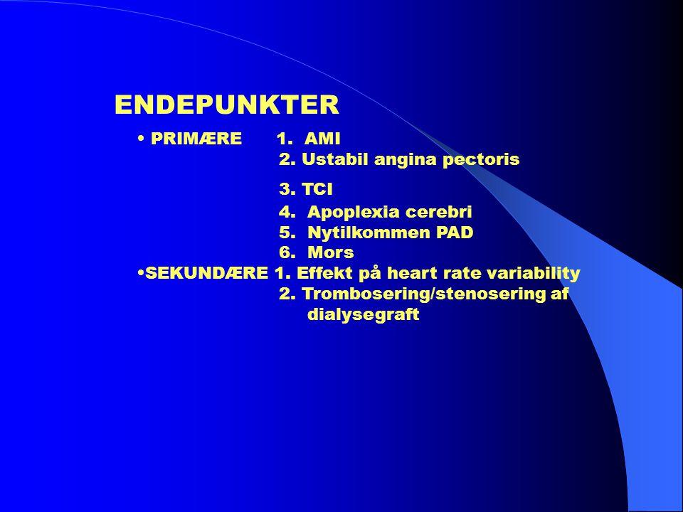 ENDEPUNKTER • PRIMÆRE 1. AMI 2. Ustabil angina pectoris 3. TCI