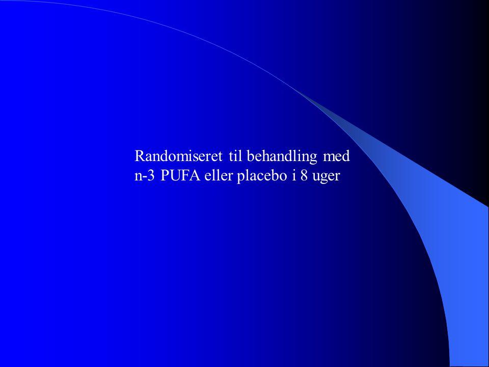 Randomiseret til behandling med n-3 PUFA eller placebo i 8 uger