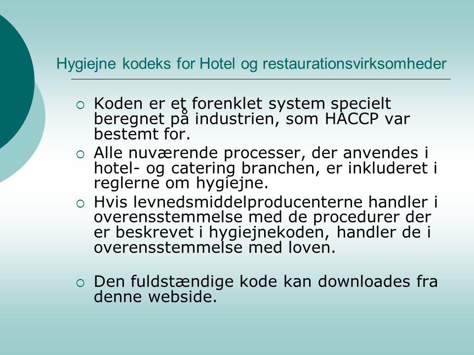 Hygiejne kodeks for Hotel og restaurationsvirksomheder
