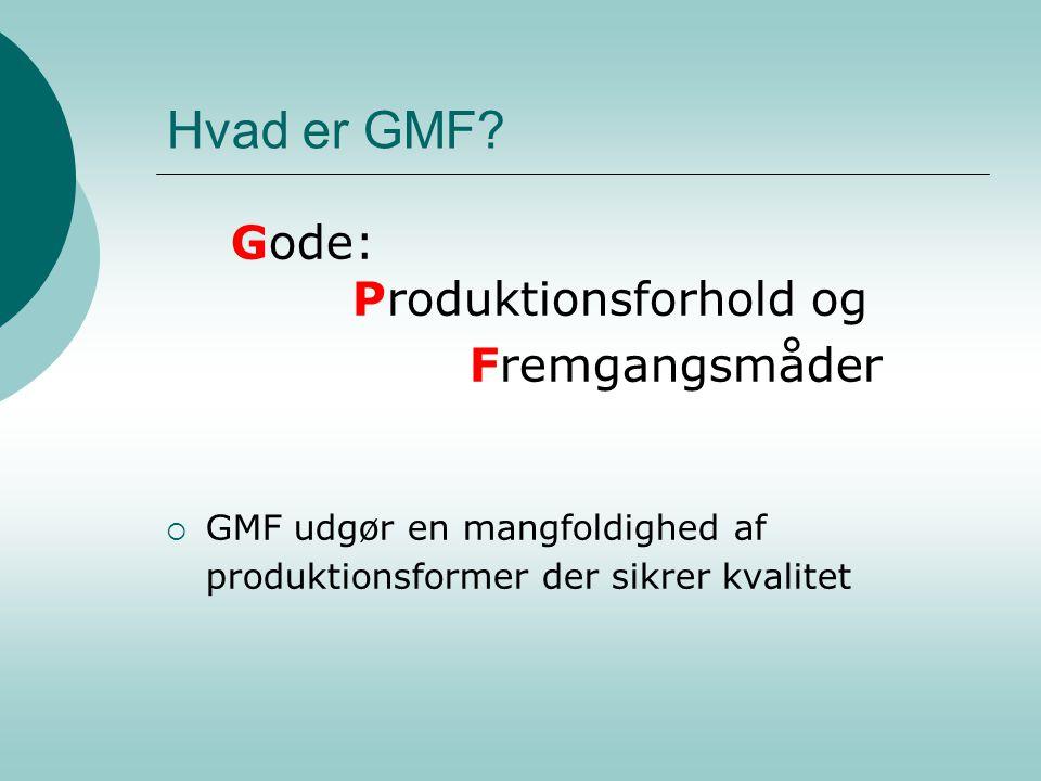Hvad er GMF Gode: Produktionsforhold og Fremgangsmåder