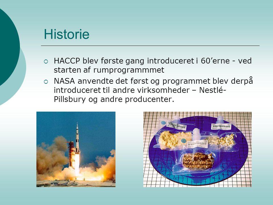 Historie HACCP blev første gang introduceret i 60'erne - ved starten af rumprogrammmet.
