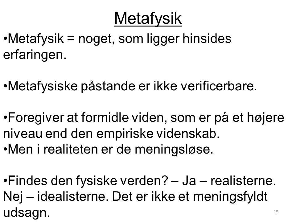 Metafysik Metafysik = noget, som ligger hinsides erfaringen.