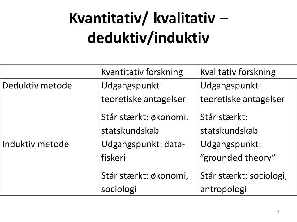Kvantitativ/ kvalitativ – deduktiv/induktiv