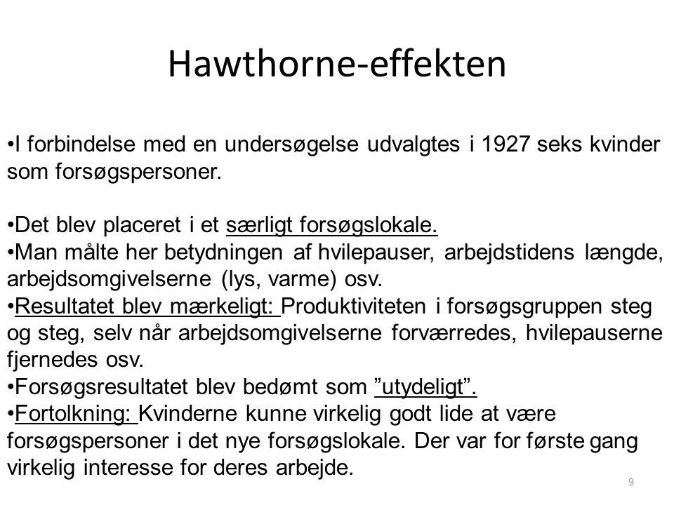 Hawthorne-effekten I forbindelse med en undersøgelse udvalgtes i 1927 seks kvinder som forsøgspersoner.