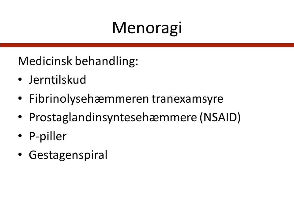 Menoragi Medicinsk behandling: Jerntilskud