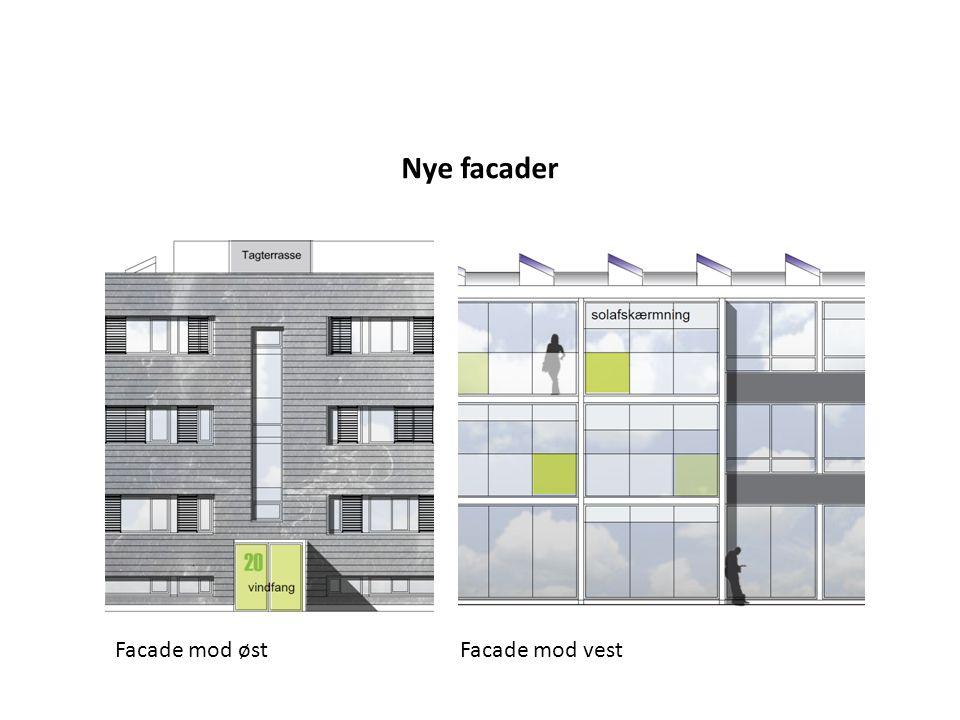 Nye facader Facade mod øst Facade mod vest