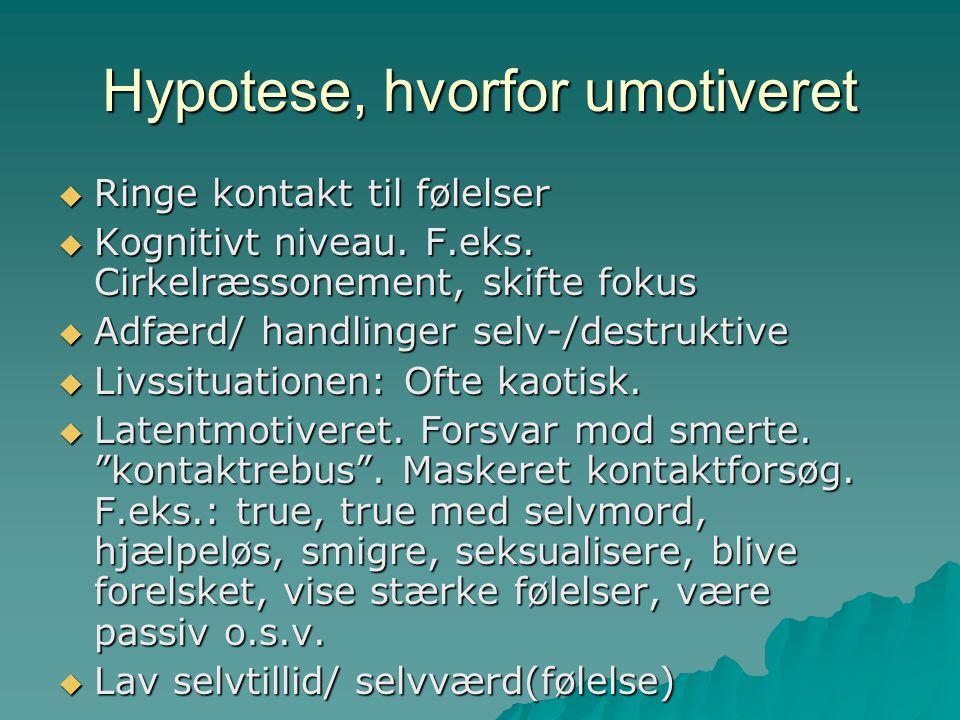 Hypotese, hvorfor umotiveret