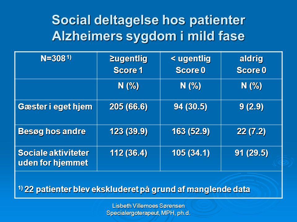 Social deltagelse hos patienter Alzheimers sygdom i mild fase