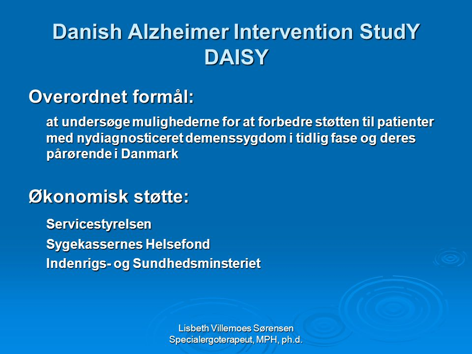 Danish Alzheimer Intervention StudY DAISY