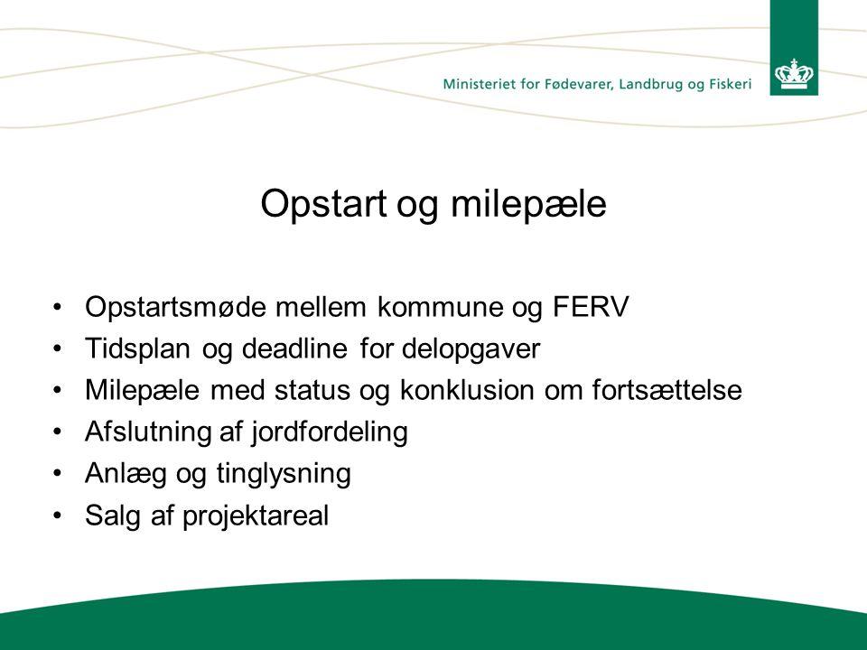 Opstart og milepæle Opstartsmøde mellem kommune og FERV