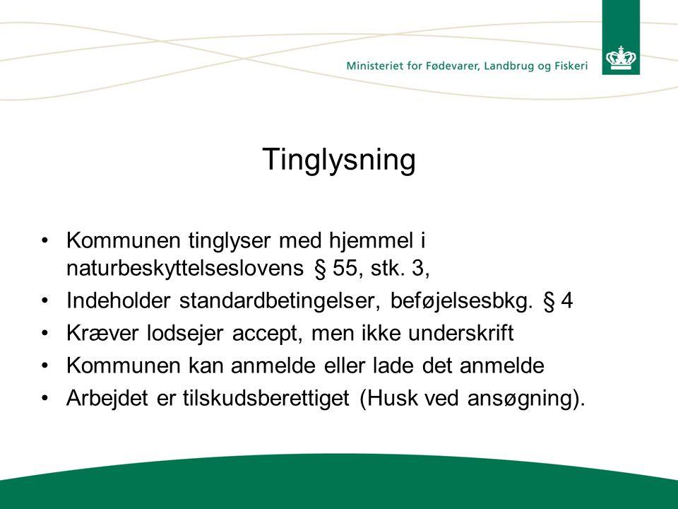 Tinglysning Kommunen tinglyser med hjemmel i naturbeskyttelseslovens § 55, stk. 3, Indeholder standardbetingelser, beføjelsesbkg. § 4.
