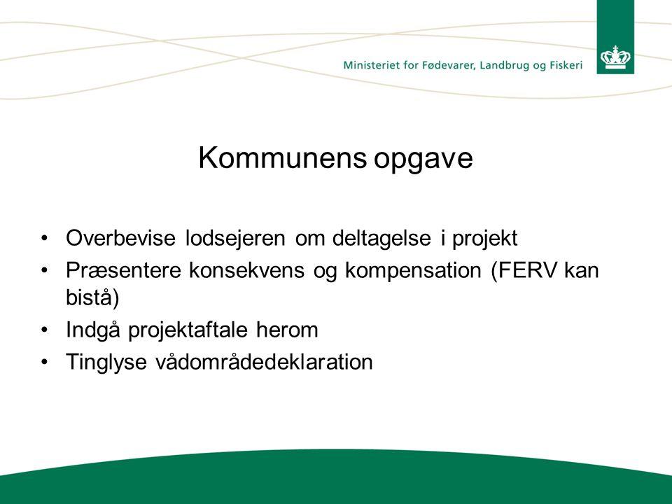 Kommunens opgave Overbevise lodsejeren om deltagelse i projekt