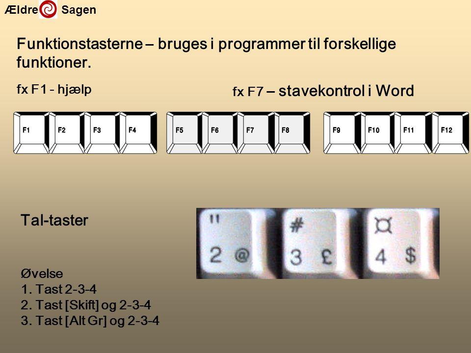 Funktionstasterne – bruges i programmer til forskellige funktioner.