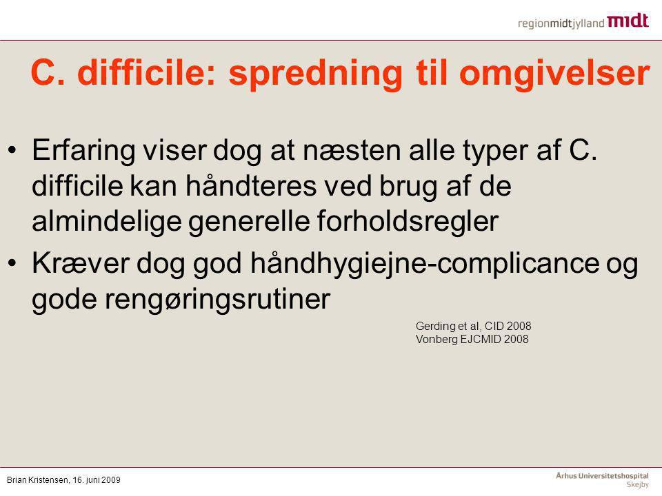 C. difficile: spredning til omgivelser