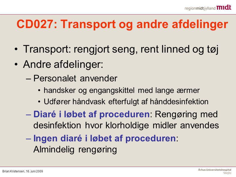 CD027: Transport og andre afdelinger