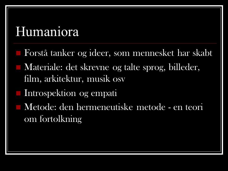 Humaniora Forstå tanker og ideer, som mennesket har skabt