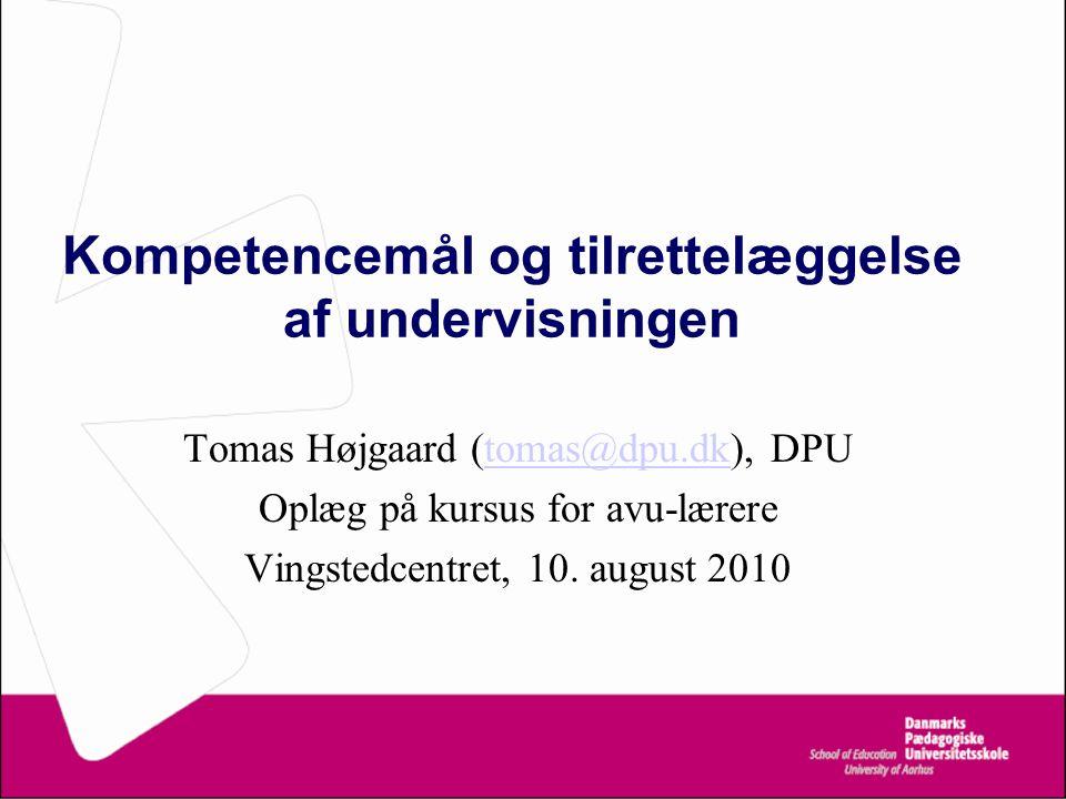 Kompetencemål og tilrettelæggelse af undervisningen