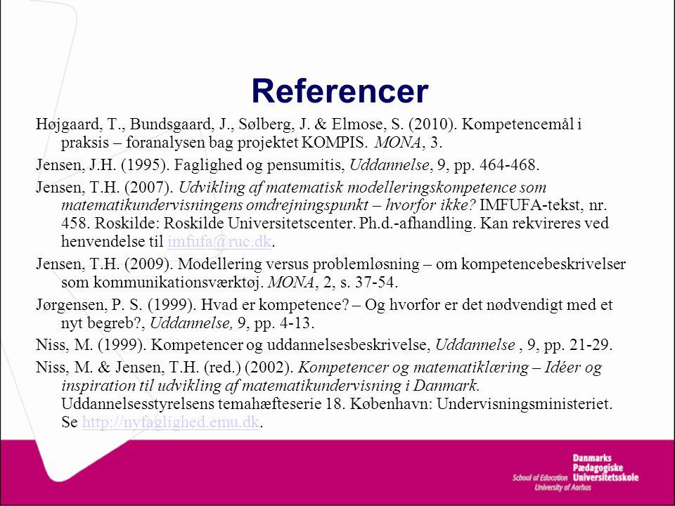 Referencer Højgaard, T., Bundsgaard, J., Sølberg, J. & Elmose, S. (2010). Kompetencemål i praksis – foranalysen bag projektet KOMPIS. MONA, 3.