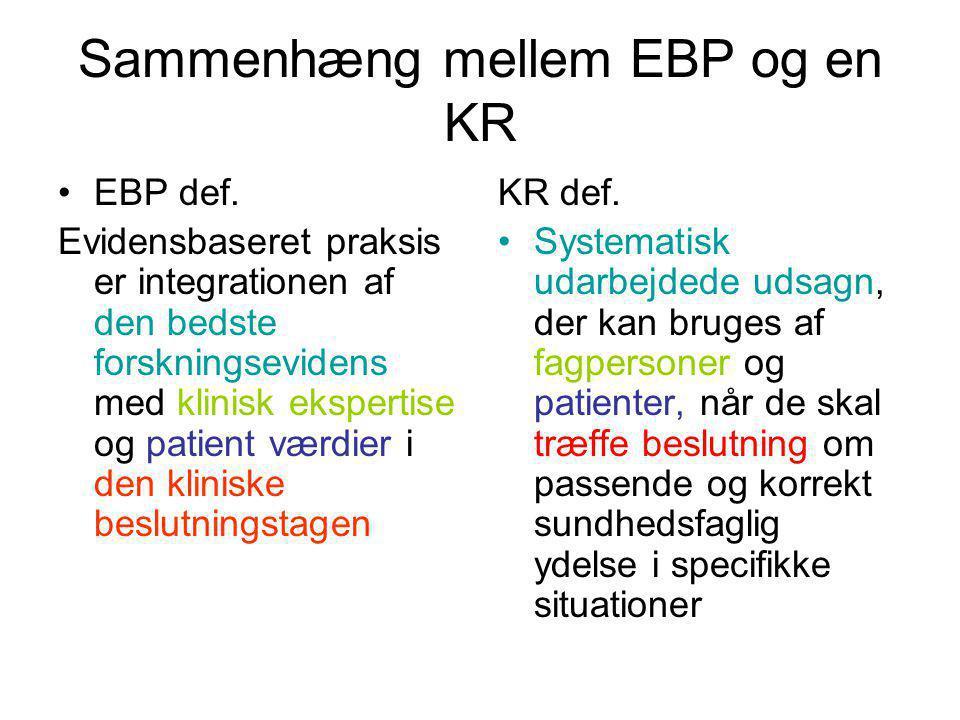 Sammenhæng mellem EBP og en KR