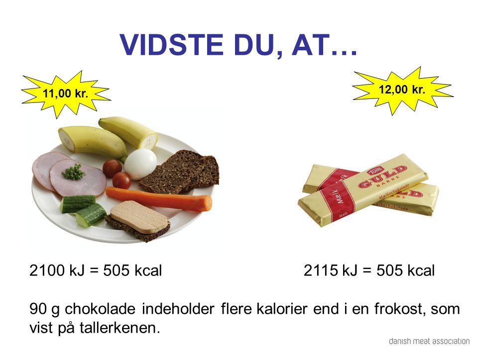 VIDSTE DU, AT… 2100 kJ = 505 kcal 2115 kJ = 505 kcal