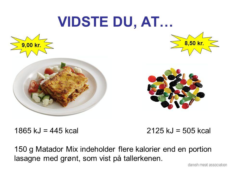 VIDSTE DU, AT… 1865 kJ = 445 kcal 2125 kJ = 505 kcal