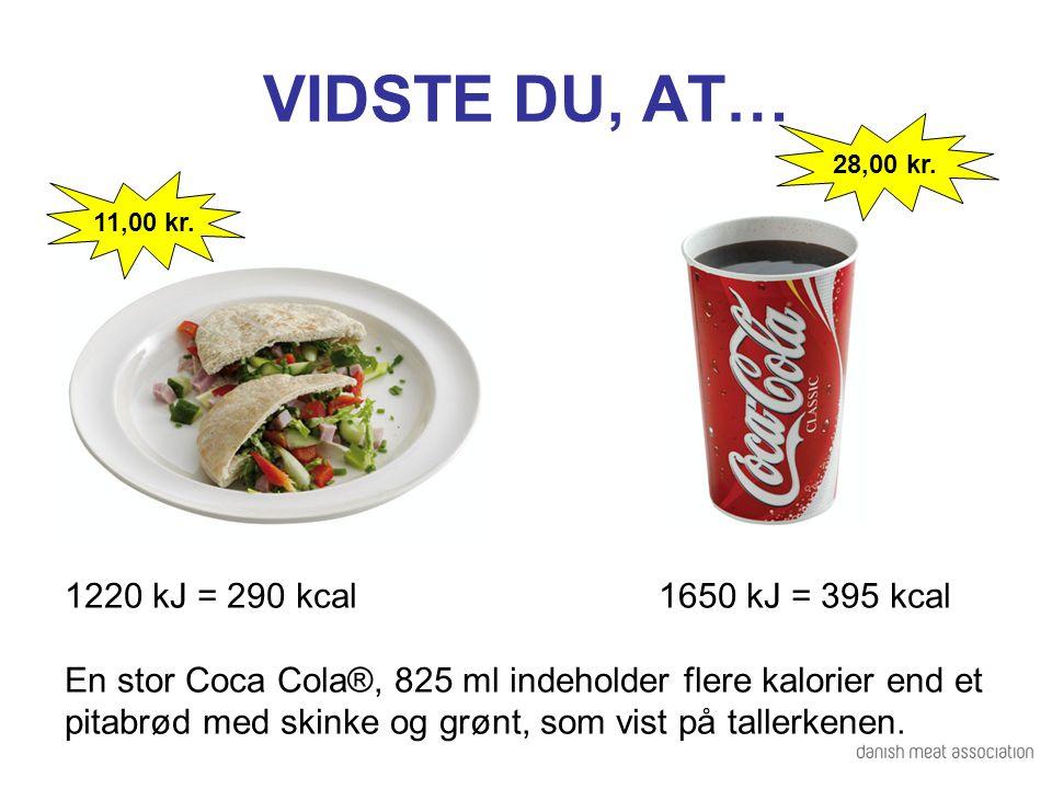 VIDSTE DU, AT… 1220 kJ = 290 kcal 1650 kJ = 395 kcal