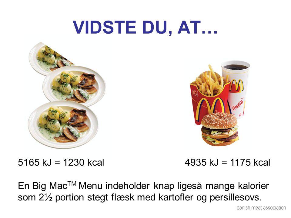 VIDSTE DU, AT… 5165 kJ = 1230 kcal 4935 kJ = 1175 kcal