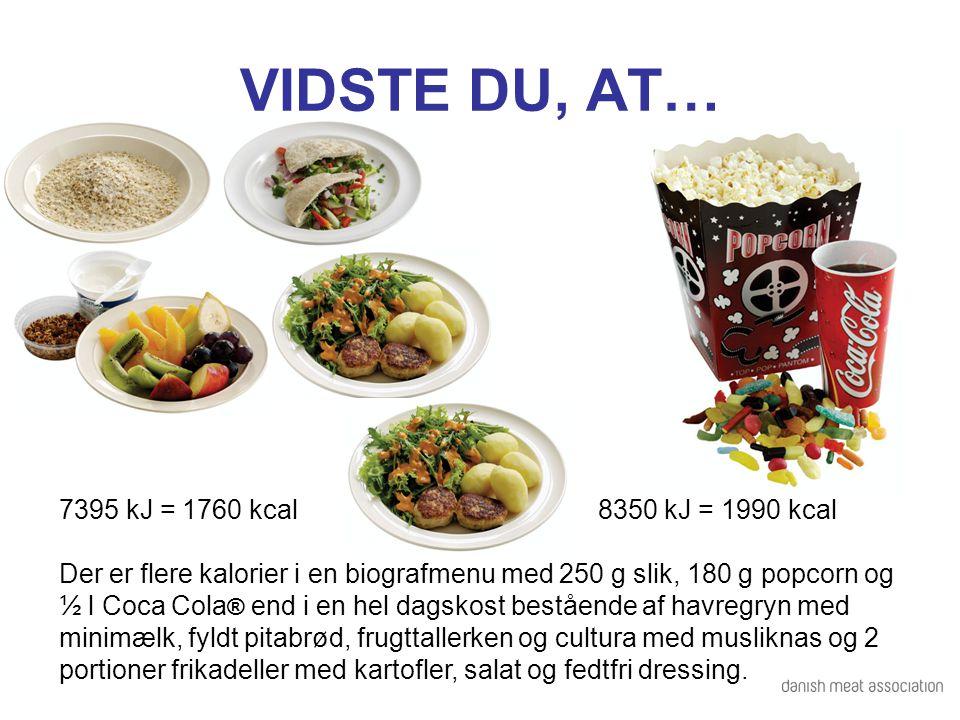 VIDSTE DU, AT… 7395 kJ = 1760 kcal 8350 kJ = 1990 kcal