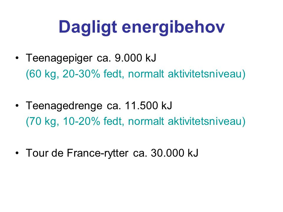Dagligt energibehov Teenagepiger ca. 9.000 kJ