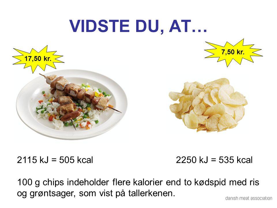 VIDSTE DU, AT… 2115 kJ = 505 kcal 2250 kJ = 535 kcal